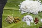 Thumbnail Rice with sauces on banana leaf, typical Indian meal, Udumalaipettai, Tamil Nadu, Tamilnadu, South India, India, South Asia, Asia