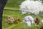 Thumbnail Rice with sauces on banana leaf, typical Indian meal, Udumalaipettai, Tamil Nadu, Tamilnadu, South India, India, South Asia, Asia