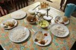 Thumbnail Laid table in a simple restaurant, plates of rice and various sauces, Kallar, Kerala, India, South Asia, Asia