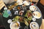 Thumbnail Table in restaurant after eating fish, Alleppey, Kerala, India, South Asia, Asia