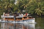 Thumbnail Fully occupied passenger ferry, Backwaters near Alleppey, Alappuzha, Kerala, India, South Asia, Asia