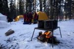 Thumbnail Pots on a grill, camp fire, bonfire, winter tents behind, Yukon Territory, Canada