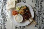 Thumbnail Restaurant, Indonesian food, Nasi Campur with sate sticks and rice, and Krupuk, shrimp crackers, Ubud, Bali, Indonesia, Southeast Asia, Asia