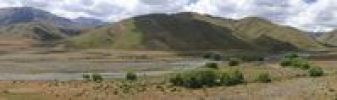 Thumbnail Mountain landscape on the banks of the Acheron River, panoramic view, Awatere Road, South Island, New Zealand, Oceania