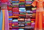 Thumbnail Kurti and saris stacked for sale, Jodhpur, Rajasthan, India, Asia
