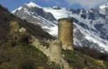 Thumbnail Towers of Saillon Castle Ruins in front of the snow-capped peaks of the Valais Alps, Saillon, Valais, Switzerland, Europe