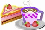 Thumbnail Illustration, cup of coffee, piece of cake