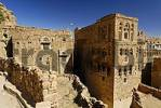 Thumbnail decorated stone houses in the old town of Thula, Yemen
