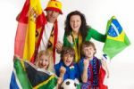 Thumbnail Soccer fans, various flags, football