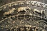 Thumbnail moon stone at Mahasen palace in Anuradhapura, Unesco World Heritage Site, Sri Lanka