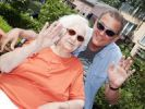 Thumbnail 97 year old nursing home resident with her son-in-law, waving