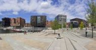 Thumbnail Panorama, Sandtorkai at noon in midsummer, Hafencity district, Mitte district, Hamburg, Germany, Europe