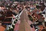 Thumbnail View from the tower of the Daniel or St.-Georgs-Kirche church to the east on the church roof, Noerdlingen, Swabia, Bavaria, Germany, Europe