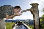 Thumbnail A man in his mid 40 quenches his thirst at a well, Todtnauberg in the Black Forest, Baden-Wuerttemberg, Germany, Europe