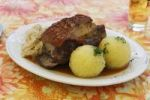 Thumbnail Pork shoulder roast with dumplings and sauerkraut, Upper Franconia, Franconia, Bavaria, Germany, Europe