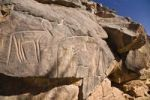 Thumbnail Rock engravings in the Wadi Mathendous, giraffe, Wadi Barjuj, stone desert, Libya, Sahara, North Africa, Africa