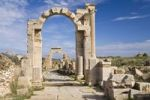 Thumbnail Arch of Trajan on Via Trionfale, Arch of Tiberius in the back, Leptis Magna, Libya, North Africa