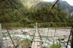 Thumbnail Swing bridge across a river at low water, Annapurna Conservation Area, Nepal, Asia