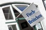 "Thumbnail Flag with ""Fischbroetchen"" sign, German for fish rolls, Husum, North Friesland, Schleswig-Holstein, Germany, Europe"