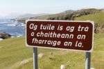 Thumbnail Sign with Irish lettering, Irish Gaelic lettering, Achill Island, County Mayo, Connacht province, Republic of Ireland, Europe