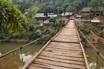 Thumbnail Suspension bridge leading to a village, Mai Chau valley, Northern Vietnam, Vietnam, Asia