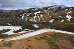 Thumbnail Cooled lava field with snow fields in a volcanic landscape, Landmannalaugar, Iceland, Europe