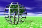 Thumbnail Environmental protection, tree protected by cage, plants grown in a protective cage, symbolic image, 3D graphics