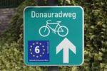 "Thumbnail Bike lane sign ""Donauradweg"", German for ""Danube bike trail"", Wachau valley, Waldviertel region, Lower Austria, Austria, Europe"