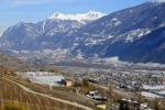 Thumbnail View in late-autumn towards the Rhone Valley near Sierre, Valais, Switzerland, Europe