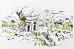 Thumbnail Arc de Triomphe, Triumphal Arch, Paris, France, drawing by Gerhard Kraus, Kriftel