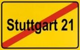 Thumbnail City limit sign, symbolic image, protest against the rail project Stuttgart 21