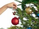 Thumbnail Hand holding Christmas bauble, decorating a Christmas tree