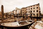 Thumbnail buildings and boats at the Vena river in Chioggia, Veneto, Italy