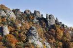 Thumbnail Rocks and woodland in autumn, located above Duernstein castle ruin, Wachau valley, Waldviertel region, Lower Austria, Austria, Europe