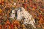 Thumbnail Rocks and autumnal mixed forest in the valley near Duernstein, viewed from Vogelbergsteig trail, Wachau valley, Waldviertel region, Lower Austria, Europe