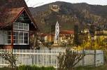 Thumbnail summer cottage and the church of Dürnstein Wachau Lower Austria