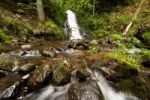 Thumbnail Todtmoos waterfalls, the smaller waterfall runing through a mossy forest, southern Black Forest, Baden-Wuerttemberg, Germany, Europe