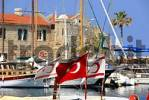 Thumbnail Flags of North Cyprus and Turkey wave in the port of Girne Kyrenia North Cyprus