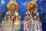 Thumbnail Byzantine wall painting two bishops with the bible in monastery Antifonitis North Cyprus