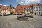 Thumbnail Market square with fountain, Pulsnitz, Saxony, Germany, Europe