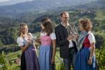 Thumbnail Young Styrian family clinking their wine glasses, Southern Styria, Styria, Austria, Europe