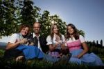 Thumbnail Young Styrian family sitting on a meadow holding wine glasses, Southern Styria, Styria, Austria, Europe