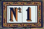 Thumbnail No. 1, street number on ceramic tiles, Tenerife island, Canary Islands, Spain, Europe