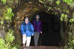 Thumbnail hikers at tunnel with irrigation canal Levada do Norte - Madeira