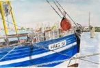 Thumbnail Shrimp boat in the port of Husum, Husum, North Sea, North Frisia, Schleswig-Holstein, northern Germany, painted in watercolours by Gerhard Kraus, Kriftel, Germany
