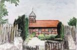 Thumbnail Half-timbered church in Nindorf, Schleswig-Holstein, northern Germany, painted in watercolours by Gerhard Kraus, Kriftel, Germany