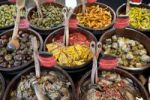 Thumbnail Market, vegetable stand, tasty marinated Mediterranean vegetables, peppers, artichokes, eggplant, Viktualienmarkt market, Munich, Upper Bavaria, Bavaria, Germany, Europe