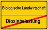 "Thumbnail City limits sign, ""Biologische Landwirtschaft"", German for ""organic farming"" and ""Dioxinbelastung"", German for ""dioxin contamination"", symbolic image for co"