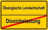 "Thumbnail City limits sign, ""Oekologische Landwirtschaft"", German for ""organic farming"" and ""Dioxinbelastung"", German for ""dioxin contamination"", symbolic image for c"
