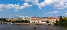 Thumbnail View across Vltava River on the historic town, behind the Rudolfinum and the Academy of Art, Prague, Czech Republic, Europe